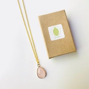 Rose Quartz Drop Gold Necklace